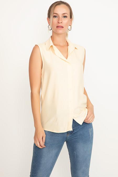 Yakalı Sıfır Kol Gömlek-41035082126