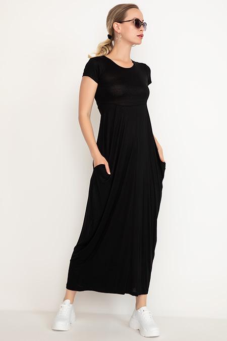 Gizli Cep Kısa Kol Elbise-41035085310