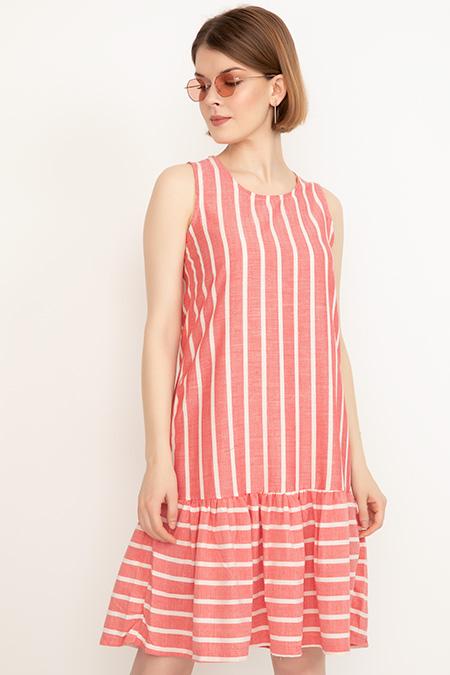 Kalın Askılı Keten Elbise-41035087036