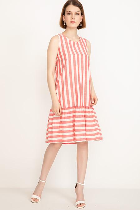 Çizgili Keten Elbise-41035087049
