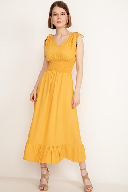 Bel Lastikli Boncuklu Elbise-41035087082