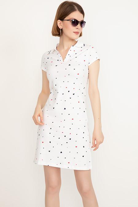 Gömlek Yaka Kalp Desenli Elbise-41035087141
