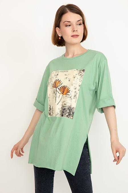 Duble Kol Desenli T-shirt-41035089377