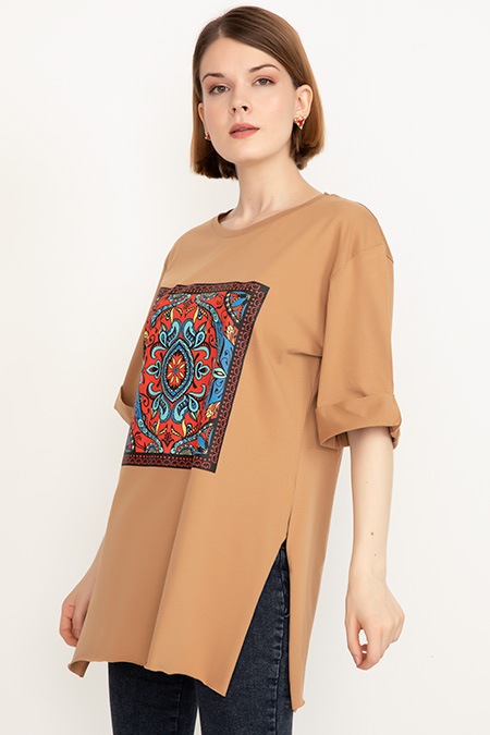 Duble Kol Yırtmaçlı T-shirt-41035089415