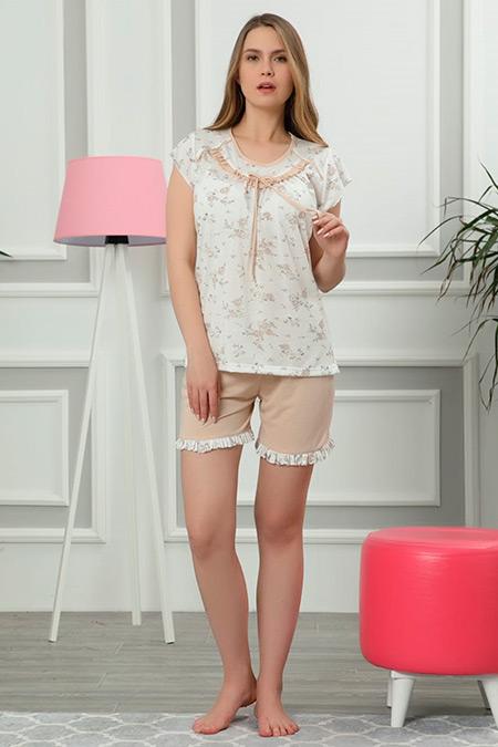 Kısa Kol Şortlu Pijama Takımı-41035089980