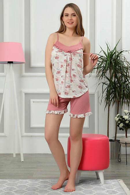 İp Askılı Şortlu Pijama Takımı-41035090002