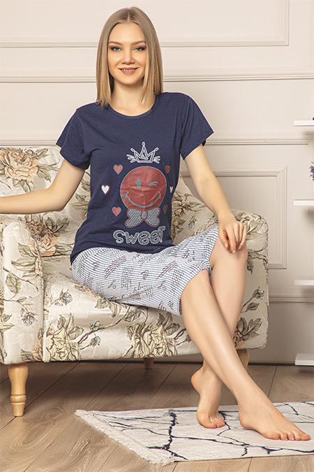 Kısa Kol Kapri Pijama Takımı-41035090502