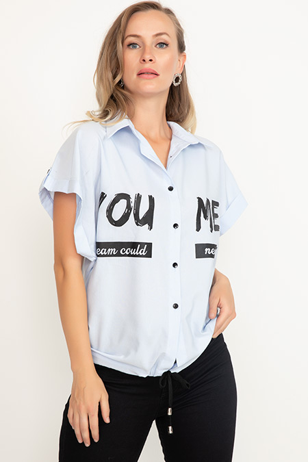 Baskılı Altı İpli Kısa Gömlek-41035090712