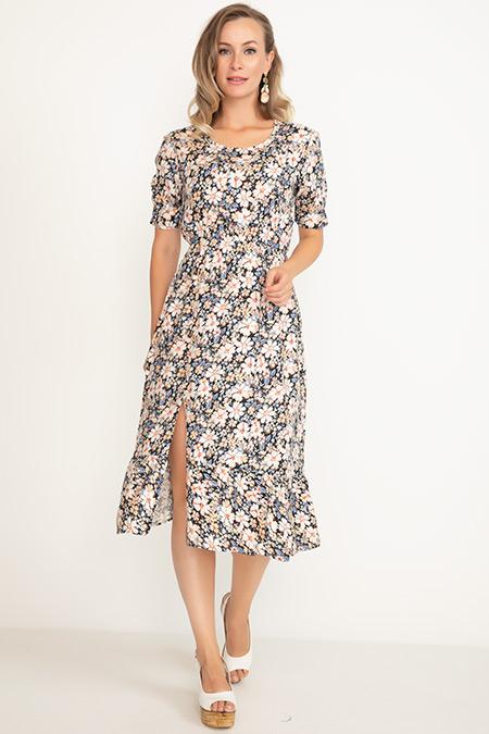 Desenli Yırtmaçlı Elbise-41035095699