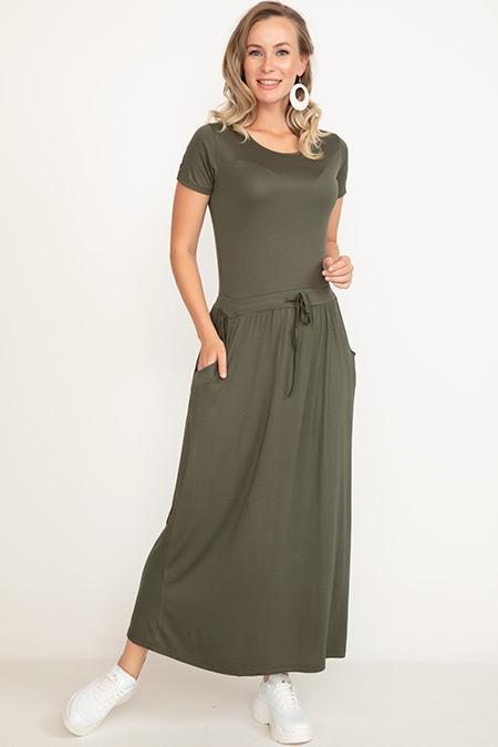 Bel Bağcıklı Kısa Kol Elbise-5002641813