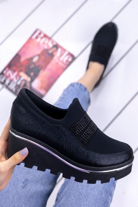Halper Siyah Cilt Dolgu Topuk Spor Ayakkabı-6724