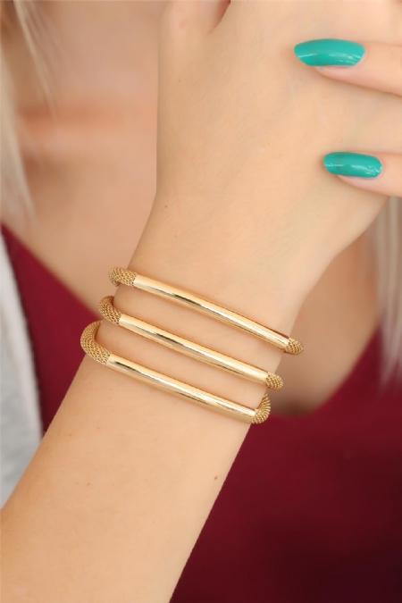 Gold Renk Metal Çoklu Bayan Bileklik-BB2523