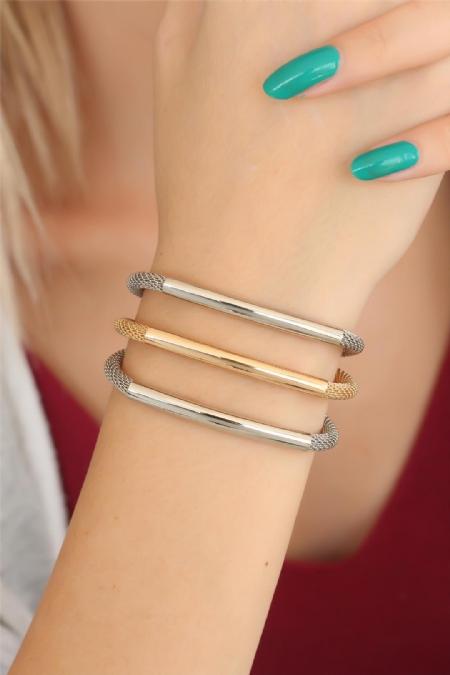 Gold Silver Renk Metal Çoklu Bayan Bileklik-BB2524