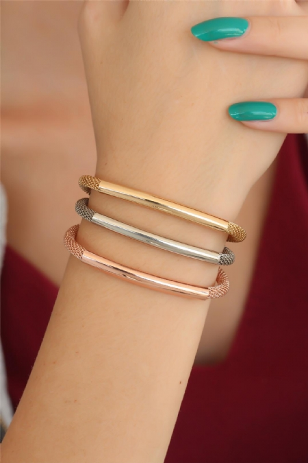 Rose Gold Silver Renk Metal Çoklu Bayan Bileklik-BB2525