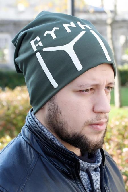 Göktürkçe Türkçe Yazılı ve Kayı Boyu Yeşil Renk Erkek Bere-EBR105