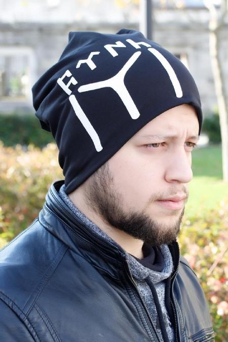 Göktürkçe Türkçe Yazılı ve Kayı Boyu Siyah Renk Erkek Bere-EBR106