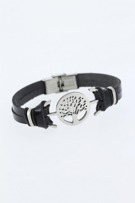 Silver Renk Ağaç Figürlü Metal Aksesuarlı Siyah Renk Deri Erkek Bileklik-EB1340
