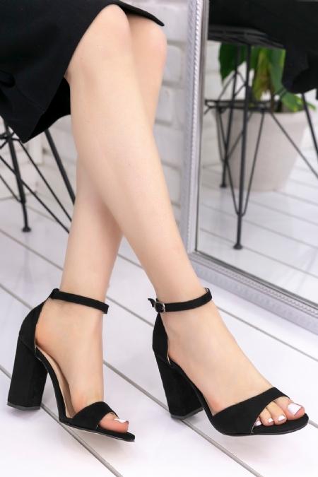 Billie Siyah Süet Topuklu Ayakkabı-6701