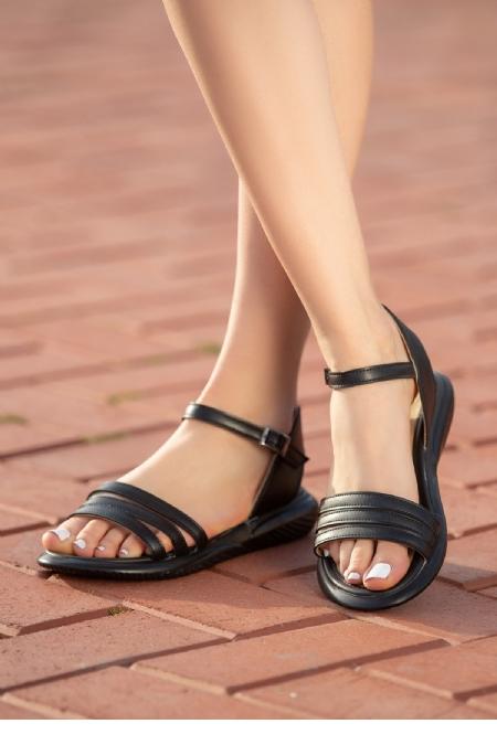 Ermi Siyah Cilt Sandalet-12244