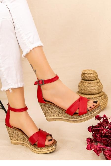 Petro Kırmızı Cilt Dolgu Topuk Sandalet-12296