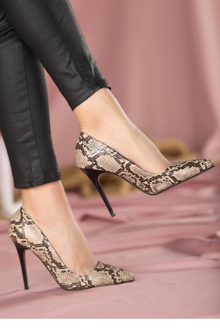 Reme Vizon Cilt Yılan Detaylı Stiletto Ayakkabı-12381