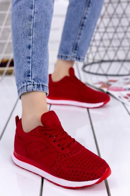 İlae Kırmızı Süet Spor Ayakkabı-6718