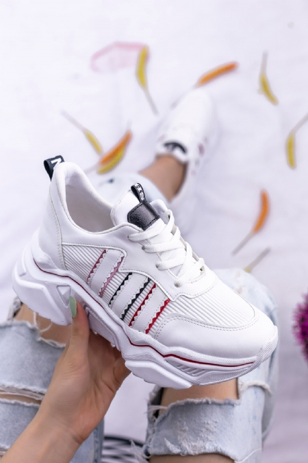 Vira  Beyaz Cilt Kırmızı Pudra Şeritli Spor Ayakkabı-8858