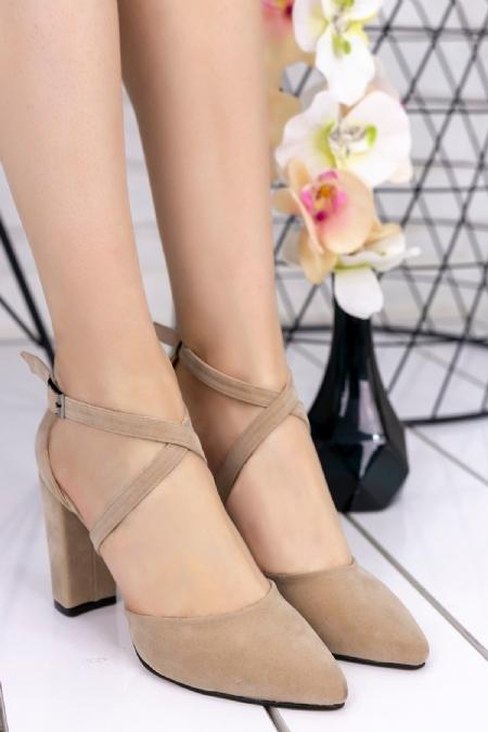 Jaden Vizon Süet Topuklu Ayakkabı-6590