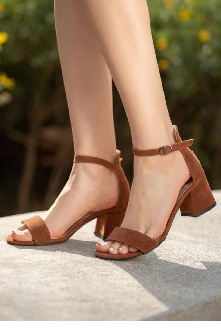 Epon Taba Süet Tek Bant Topuklu Ayakkabı-12344