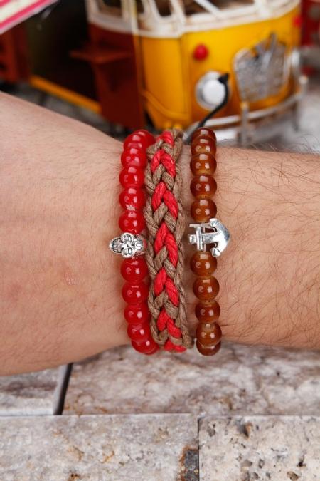 Kahverengi ve Kırmızı Şık Tasarım Erkek Bileklik Kombini-EBK103