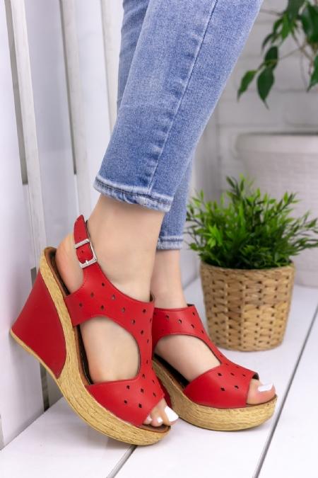 Floran Kırmızı Cilt Dolgu Topuklu-6811