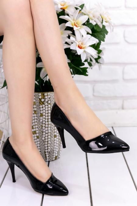 Havani Siyah Rugan Stiletto Ayakkabı-6702