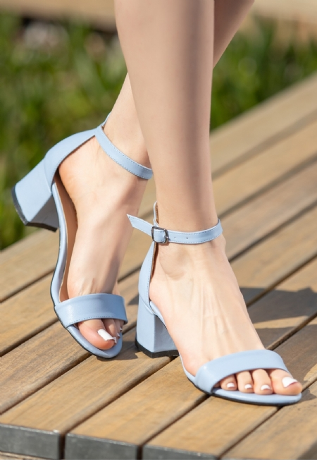 Epon Bebe Mavisi Cilt Tek Bant Topuklu Ayakkabı-12338
