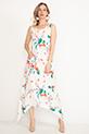 Desenli Cepli Elbise / Beyaz