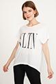 Baskılı T-shirt / Krem