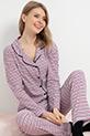 Düğmeli Pijama Takımı / Mor