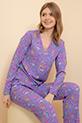 Çiçek Desenli Pijama Takımı / Lila