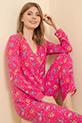 Çiçek Desenli Pijama Takımı / Pembe