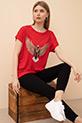 Baskılı Sıfır Yaka T-shirt / Kırmızı