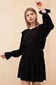 Bel Büzgülü Elbise / Siyah