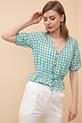 Ekose Düğmeli Bluz / Yeşil