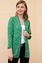 Desenli Şal Yaka Ceket / Yeşil-Krem