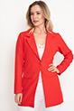 Sahte Cepli Düğmeli Uzun Ceket / Kırmızı