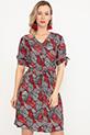 Kol Detaylı Düğmeli Kuşaklı Elbise / Kırmızı