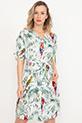 Kol Detaylı Düğmeli Kuşaklı Elbise / Krem