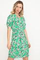 Kol Detaylı Düğmeli Kuşaklı Elbise / Yeşil