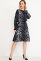 Desenli Kol Lastikli Elbise / Lacivert-Beyaz
