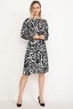 Desenli Kol Lastikli Elbise / Siyah-Beyaz