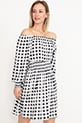 Kayık Yaka Elbise / Beyaz-Siyah