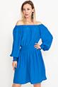 Kayık Yaka Elbise / Mavi